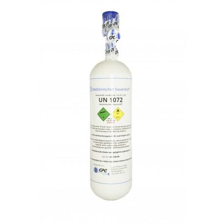 Gasflasche, Med. O2 - Sauerstoff Medizinisch nach AMG 2 Liter/ C 2