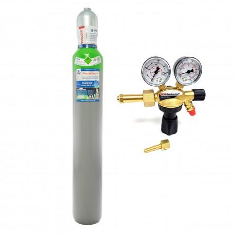 """Schutzgas Mix 18%Co2 82%Argon 10 Liter Flasche + Argon/CO2 Schutzgas Druckminderer """"GCE BaseControl"""" Eingang: 200bar Ausgang: 0-24 l/m WIG,MIG,MAG,TIG"""