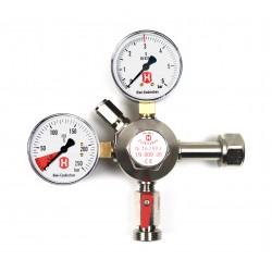 Hiwi-Premium-Druckregler für Bier-Zapfanlagen, 3 bar, 1-leitig, 2 Manometer, für CO2-Mehrwegflasche