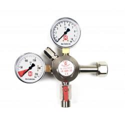 Hiwi Premium-Druckregler für Getränke- und Bier-Zapfanlagen, 7 bar, 1-leitig, 2 Manometer, für CO2-Mehrwegflasche