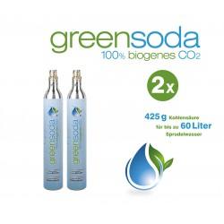 greensoda | Standard-Zylinder für Getränkesprudler, 425 g biogene Kohlensäure für bis zu 60 Liter Sprudelwasser | 2er-Pack