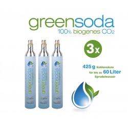 greensoda | Standard-Zylinder für Getränkesprudler, 425 g biogene Kohlensäure für bis zu 60 Liter Sprudelwasser | 3er-Pack
