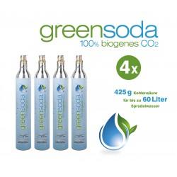 greensoda | Standard-Zylinder für Getränkesprudler, 425 g biogene Kohlensäure für bis zu 60 Liter Sprudelwasser | 4er-Pack