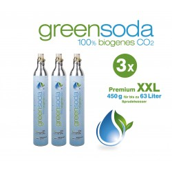 greensoda | Premium-Zylinder für Getränkesprudler, 450 g biogene Kohlensäure für bis zu 63 Liter Sprudelwasser | 3er-Pack