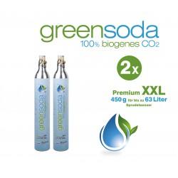 greensoda | Premium-Zylinder für Getränkesprudler, 450 g biogene Kohlensäure für bis zu 63 Liter Sprudelwasser | 2er-Pack