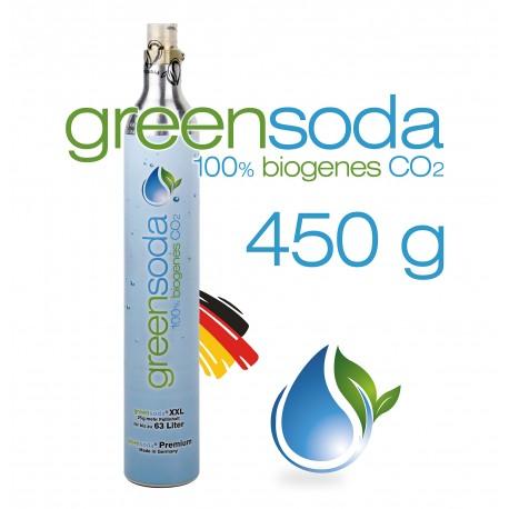 greensoda | Premium-Zylinder für Getränkesprudler, 450 g biogene Kohlensäure für bis zu 63 Liter Sprudelwasser