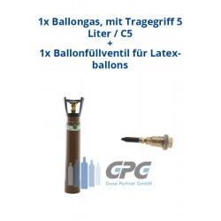 Kombipaket: Gasflasche, Ballongas, mit Tragegriff und Standfuß 3 Liter / C3 + Ballonfüllventil für Latexballons
