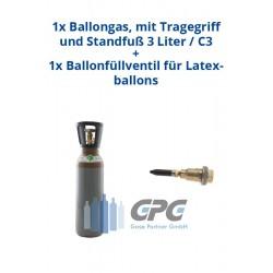 Kombipaket: Gasflasche, Ballongas, mit Tragegriff 5 Liter / C5 + Ballonfüllventil für Latexballons