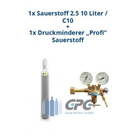 """Kombipaket: Gasflasche, Sauerstoff 2.5 10 Liter / C10 + Druckminderer """"Profi"""" Sauerstoff"""