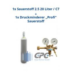 """Kombipaket: Gasflasche, Sauerstoff 2.5 20 Liter / C20 + Druckminderer """"Profi"""" Sauerstoff"""