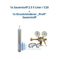 "Sauerstoff 2.5 50 Liter Flasche + Sauerstoff Druckminderer ""KAYSER"" Profi Eingang: 200bar Ausgang: 0-10 bar"