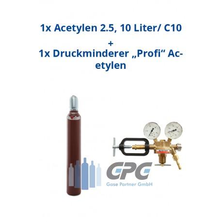 """Kombipaket: Gasflasche, Acetylen 2.5, 10 Liter/ C10 + Druckminderer """"Profi"""" Acetylen"""