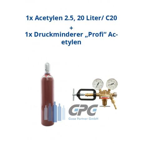 """Kombipaket: Gasflasche, Acetylen 2.5, 20 Liter/ C20 + Druckminderer """"Profi"""" Acetylen"""