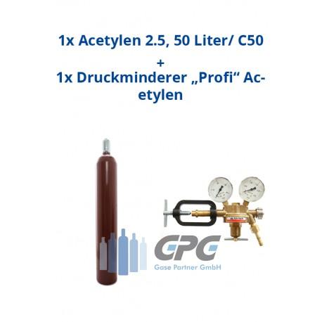 """Kombipaket: Gasflasche, Acetylen 2.5, 50 Liter / C50 + Druckminderer """"Profi"""" Acetylen"""