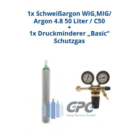 """Kombipaket: Gasflasche, Schweißargon WIG,MIG /Argon 4.8 50 Liter / C50 + Druckminderer """"Basic"""" Schutzgas"""