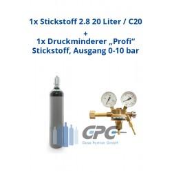"""Kombipaket: Gasflasche, Stickstoff 2.8 20 Liter / C20 + Druckminderer """"Profi"""" Stickstoff, Ausgang 0-10 bar"""