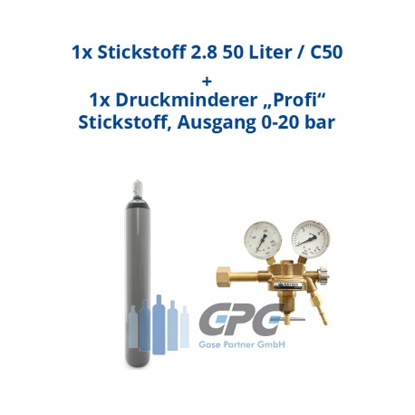 """Kombipaket: Gasflasche, Stickstoff 2.8 50 Liter / C50 + Druckminderer """"Profi"""" Stickstoff, Ausgang 0-20 bar"""