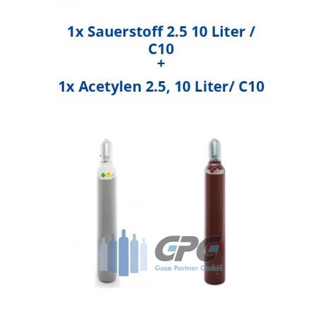 Kombipaket: Gasflasche, Sauerstoff 2.5 10 Liter / C10 + Gasflasche, Acetylen 2.5, 10 Liter/ C10
