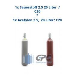 Sauerstoff 2.5 20 Liter Flasche + Acetylen 2.5 20 Liter Flasche