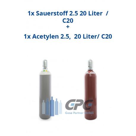 Kombipaket: Gasflasche, Sauerstoff 2.5 20 Liter / C20 + Gasflasche, Acetylen 2.5, 20 Liter/ C20