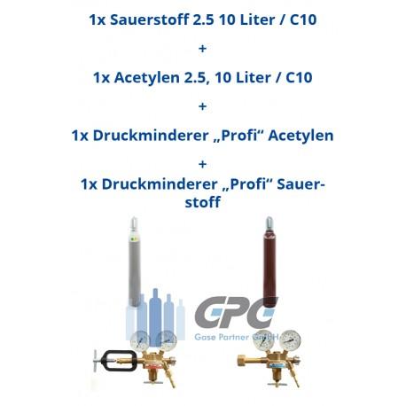 """Kombipaket: Gasflasche, Sauerstoff 2.5 10 Liter / C10 + Gasflasche, Acetylen 2.5, 10 Liter/ C10 + Druckminderer """"Profi"""" Acetylen"""