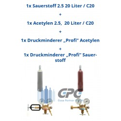 """Kombipaket: Gasflasche, Sauerstoff 2.5 20 Liter / C20 + Gasflasche, Acetylen 2.5, 20 Liter/ C20 + Druckminderer """"Profi"""" Acetyl"""