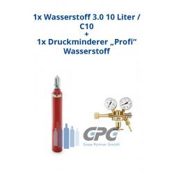 """Kombipaket: Gasflasche, Wasserstoff 3.0 10 Liter / C10 + Druckminderer """"Profi"""" Wasserstoff"""