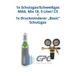 """Kombipaket: Gasflasche, Schutzgas/Schweißgas MAG, Mix 18/ 18%Co2, 82%Argon 5 Liter/ C5 + Druckminderer """"Basic"""" Schutzgas"""