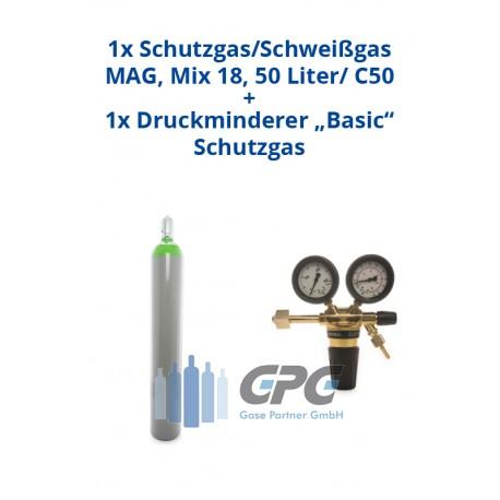 """Kombipaket: Gasflasche, Schutzgas/Schweißgas MAG, Mix 18/ 18% Co2, 82% Argon 50 Liter/ C50 + Druckminderer """"Basic"""" Schutzgas"""