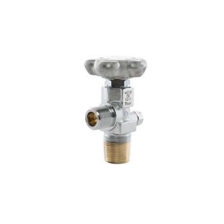 """Kohlensäure-Restdruckventil (RPV), W21,8 x 1/14"""" 25E, DIN 477 Nr.6 (Messing-verchromt) 200 bar"""