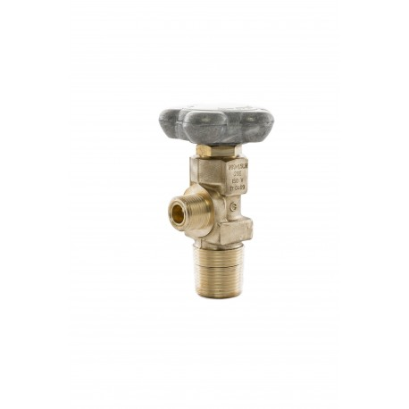 Prüfgas-Ventil, M19x1,5 links, großkonisch 25E, DIN 477 Nr.14 (Messing) 200 bar