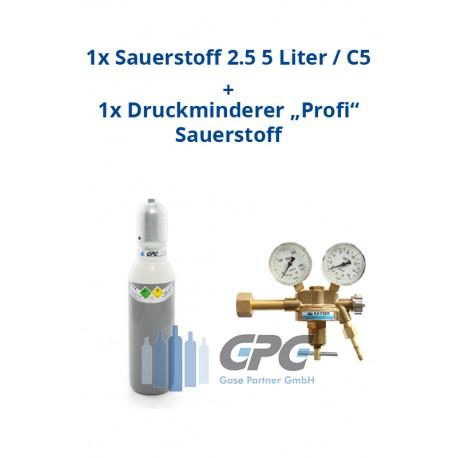 """Kombipaket: Gasflasche, Sauerstoff 2.5 5 Liter / C5 + Druckminderer """"Profi"""" Sauerstoff"""
